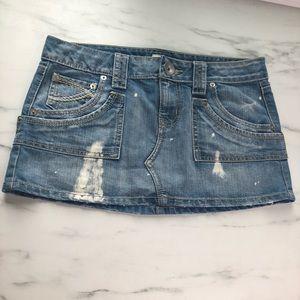 SO Paint Splattered Jean Denim Skirt Size 9